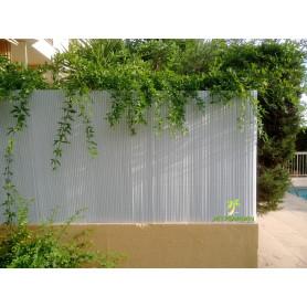 Canisses PVC blanc H120cm pour panneaux grillage 2,50m.