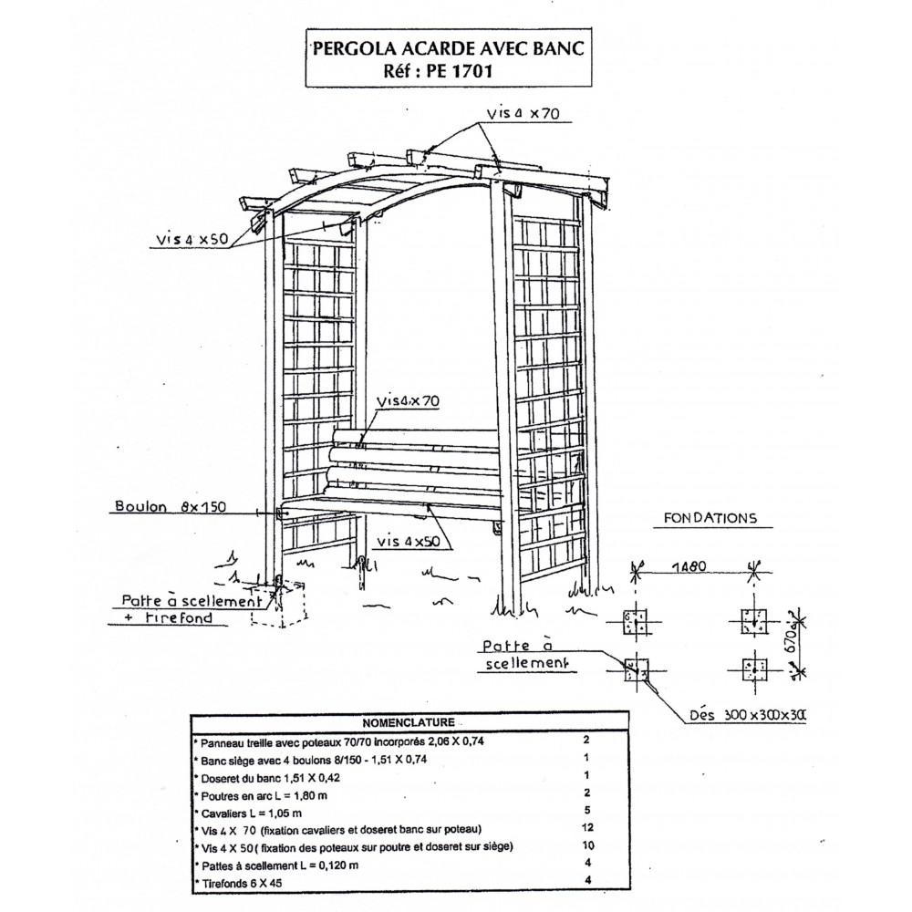 Pergola de jardin, ARCADE, en bois, avec banc, arche de jardin en bois