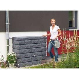 Récupérateur d'eau mural 400L ROCKY gris granité. Réservoir eau de pluie ou bac récupérateur d'eau de pluie.
