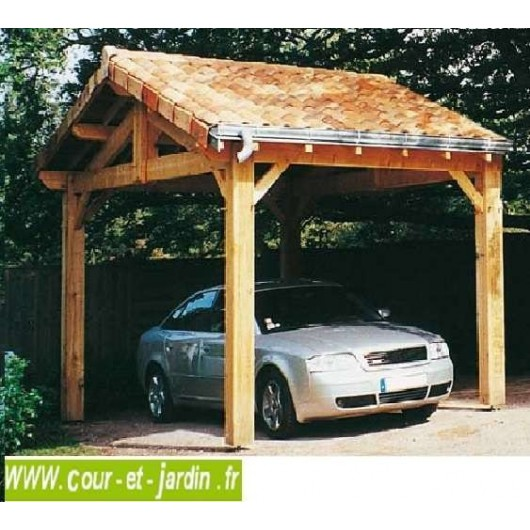 abri voiture carport bois 1 voiture en charpente traditionnelle en kit. Black Bedroom Furniture Sets. Home Design Ideas