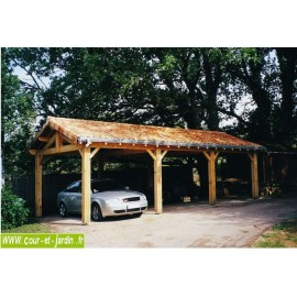Abri 3 voitures ou carport 3 voitures en charpente traditionnelle en kit - carport bois de 9mx5 ou 9mx6