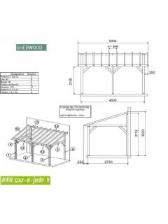 Dimensions: Auvent en bois pour terrasse SHERWOOD 5mx3. Cette charpente bois kit est un carport 1 pan ou carport adossant bois