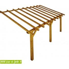 Structure Auvent PRADO 5mx3 . Ce carport à adosser ou pergola bois adossée, est livré sans lattes ni tuiles