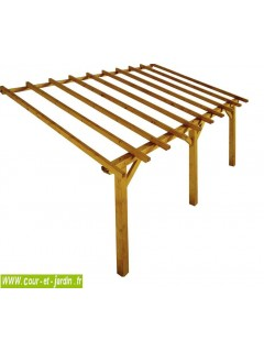 Structure Auvent PRADO 5mx3 . Ce carport à adosser ou carport adossé, est livré sans lattes ni tuiles