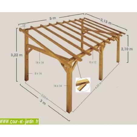 auvent terrasse en bois charpente en kit abri. Black Bedroom Furniture Sets. Home Design Ideas