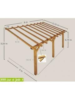 Charpente en kit d'Auvent PRADO  5mx3. Ce carport mural bois ou carport a adosser est livré sans lattes ni tuiles