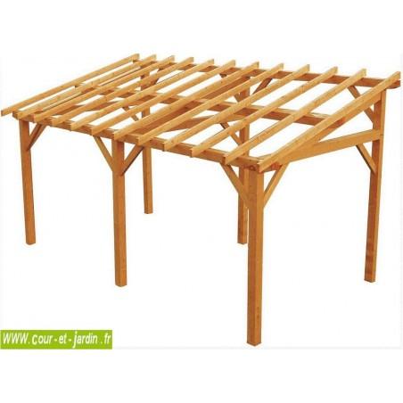 Structure d'Auvent VANOISE en bois non traité (540x284 cm) . Cet abri terrasse est aussi un carport voiture