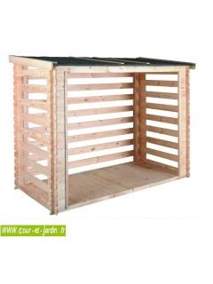 Abri buches 3 stères avec plancher et fond mural . Ce Bucher pour bois est à lames ajourées