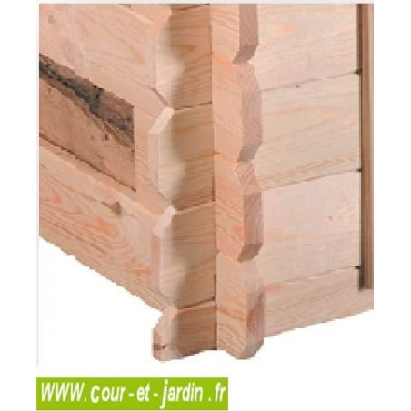 Abri buche COME de 3 stères avec plancher et fond mural  . Cet abri pour le bois est en planches ajourées