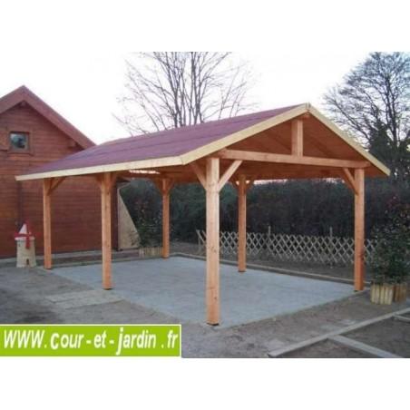 Carport bois AR 3560 BM - Abri voiture bois 2 pans (400 x 630 cm)