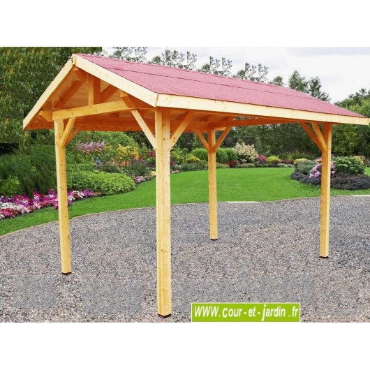 carport ar 3040bm en bois de 3x4m toit bitum. Black Bedroom Furniture Sets. Home Design Ideas