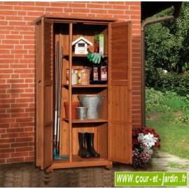 Armoire haute PEDRO en bois pour balcon ou terrasse . Cette armoire de terrasse ou armoire de balcon est lasurée marron
