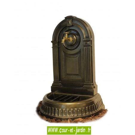 Fontaine de jardin murale Empire - borne fontaine fonte coloris vieux bronze