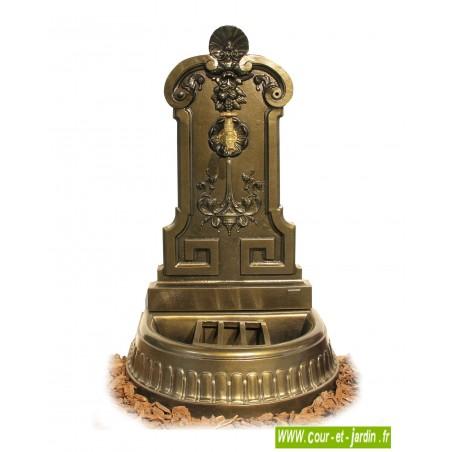 """Fontaine de terrasse """"Vendanges"""" en fonte, coloris vieux bronze"""