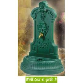 """Fontaine de jardin en fonte""""Mephisto"""" - fontaine murale coloris vert antique, avec robinet """"colvert"""""""