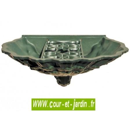 """Bassin """"Coquillage"""" (seul) en fonte, coloris vert anglais de la fontaine murale """"coquille au lion"""" - fonte d'art dommartin"""