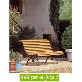 """Banc de jardin """"Vigne"""" en fonte et lattes en pin (150cm)"""
