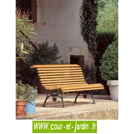 Banc fonte : Vigne. Ce banc de jardin en bois et fonte ou banc ancien, est livré en kit.