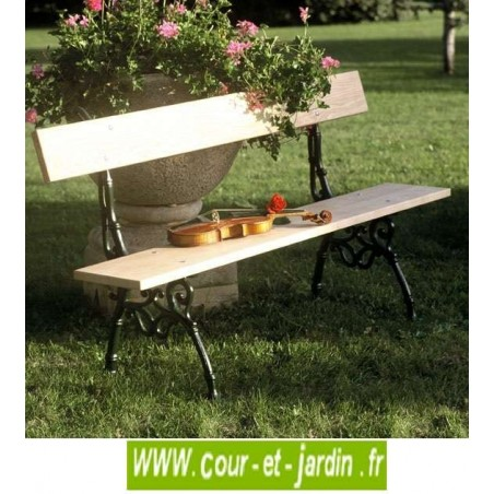 banc de jardin en fonte bois avec dossier design pas. Black Bedroom Furniture Sets. Home Design Ideas