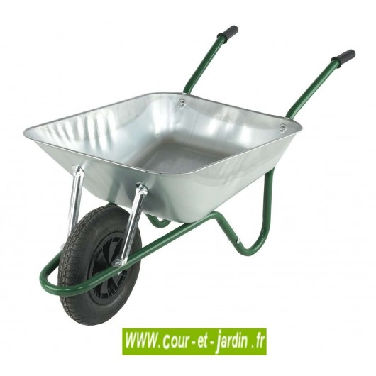 Brouette caisse galva 90 l livr e en kit roue gonflable - Roue de brouette pleine ...