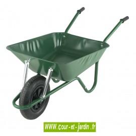 Brouette acier 90 L livrée en kit à roue gonflable - verte