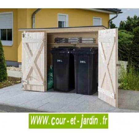Abri multi usage vélos et poubelles 205x87cm en bois non traité