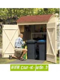 Armoire jardin en bois . Abri velo ou abri poubelles de 160 cm x 134