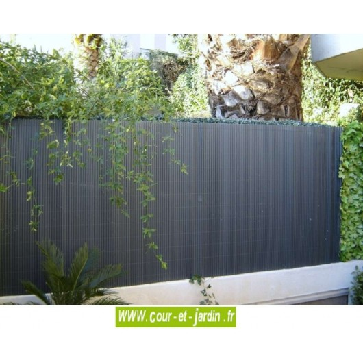 Canisses PVC double face anthracite ht 150cm  rouleau de 3ml