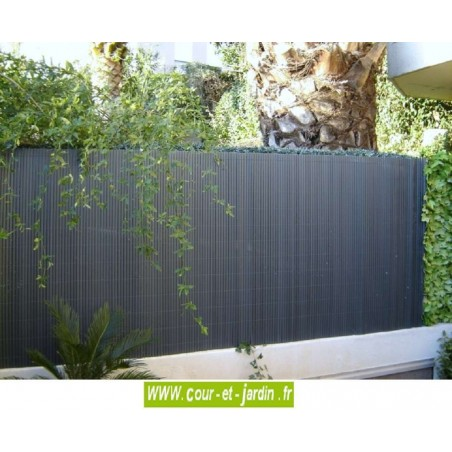 Canisses PVC double face anthracite ht 180cm rouleau de 3ml
