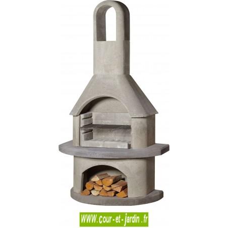 Barbecue en beton au bois avec cheminée - Ce Barbecue en dur moderne de Buschbeck est un barbecue maçonné au ciment colle