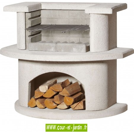 Barbecue beton Grillbar VENEDIG blanc . Ce barbecue fixe ou barbecue en dur est de marque Buschbeck.