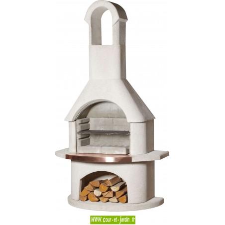 Barbecue en dur MADERE . Ce barbecue pierre ou béton de Buschbeck est un barbecue cheminée fixe