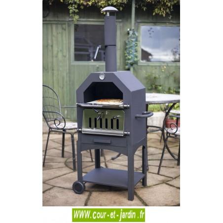 FOUR à pizza Médium en acier + fumoir