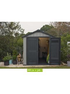 Keter abri de jardin - vue de l'intérieur et de l'extérieur des portes des abris de jardin Keter en résine.