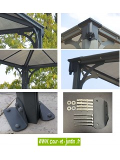 Tonnelle kit Couv'Terrasse 300x300 - polycarbonate et alu - pergola aluminium 3x3