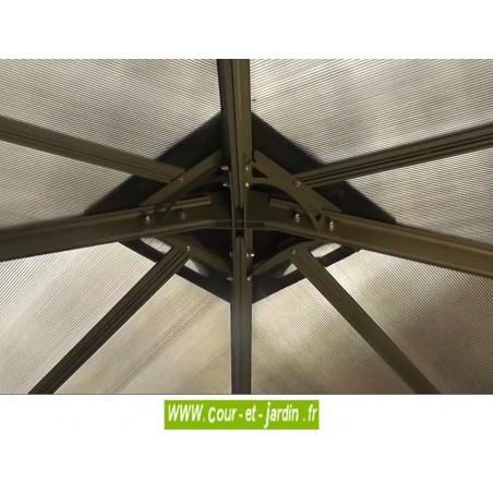 partie centrale intérieure de la  pergola Tonnelle 300x300 - Vue en sous toiture de la tonnelle de jardin . Tonnelle 3x3