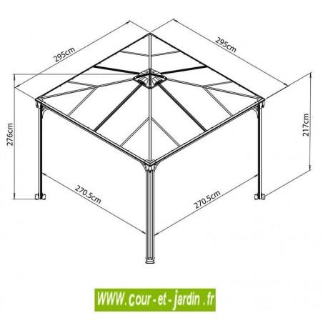 Tonnelle Couv'Terrasse 300x300 - dimensions - tonnelle autoportée 3x3
