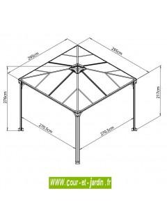 Tonnelle Couv'Terrasse 300x300 - dimensions