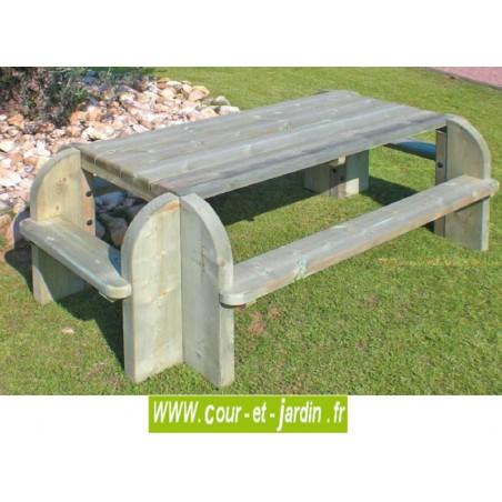 Table de jardin avec banc : Elite - Cette table de pique nique bois ou table picnic bois, est traitée autoclave cl.4