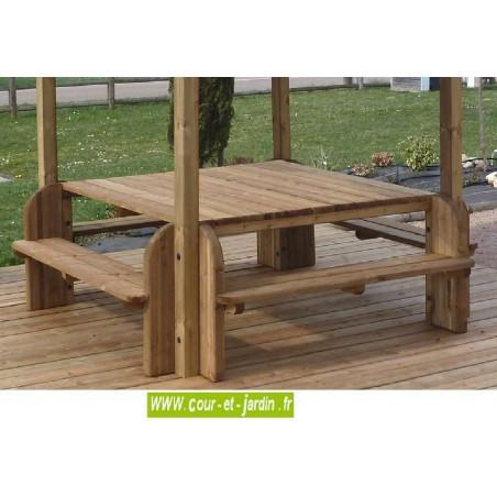 Table pique nique bois table de jardin bois avec banc - Table de jardin en bois avec banc integre ...