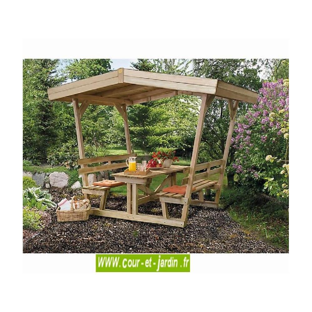 table en bois avec banc tonnelle ou pergola pour pique nique. Black Bedroom Furniture Sets. Home Design Ideas