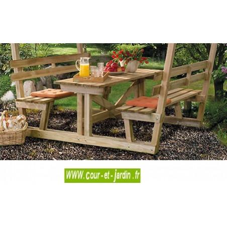 Table en bois avec banc tonnelle ou pergola pour pique nique - Plan pour table de pique nique en bois ...