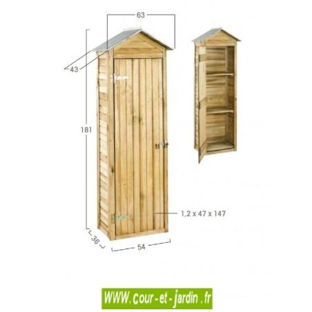 Dimensions de l'Armoire de rangement de jardin Erra - placard exterieur en bois.