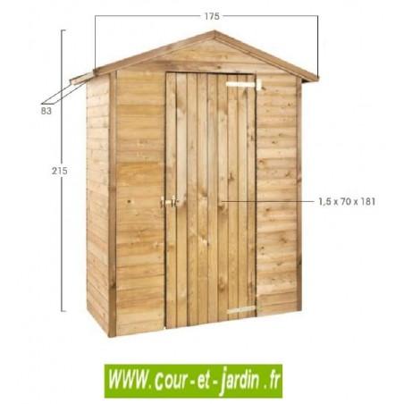Armoire de jardin MERINA en bois traité dimensions