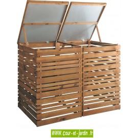 Cache poubelles DUO double en bois - 155x90x116cm