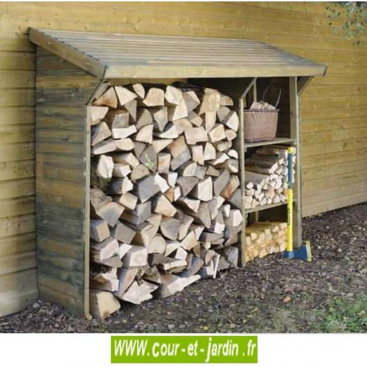 Abri pour le bois de chauffage, SPLIT 1, 5 stère - 2 étagères - bois traité
