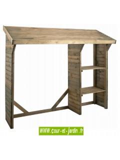 Abri pour bois de chauffage SPLIT 1, 5 stère - Range bois avec 2 étagères en bois traité