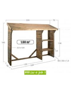 Dimensions de cet abri bois de chauffage SPLIT 1,5 stère à 2 étagères - bûcher bois