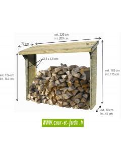 Dimensions de ce Range bûche Olbia. Ce range bois extérieur ou abri buches de 2 stères, est en bois traité.
