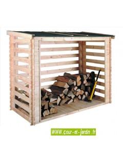 Abri bûches COME de 3 stères avec plancher et fond mural.  Cet Abri bois de chauffage est en planches ajourées.